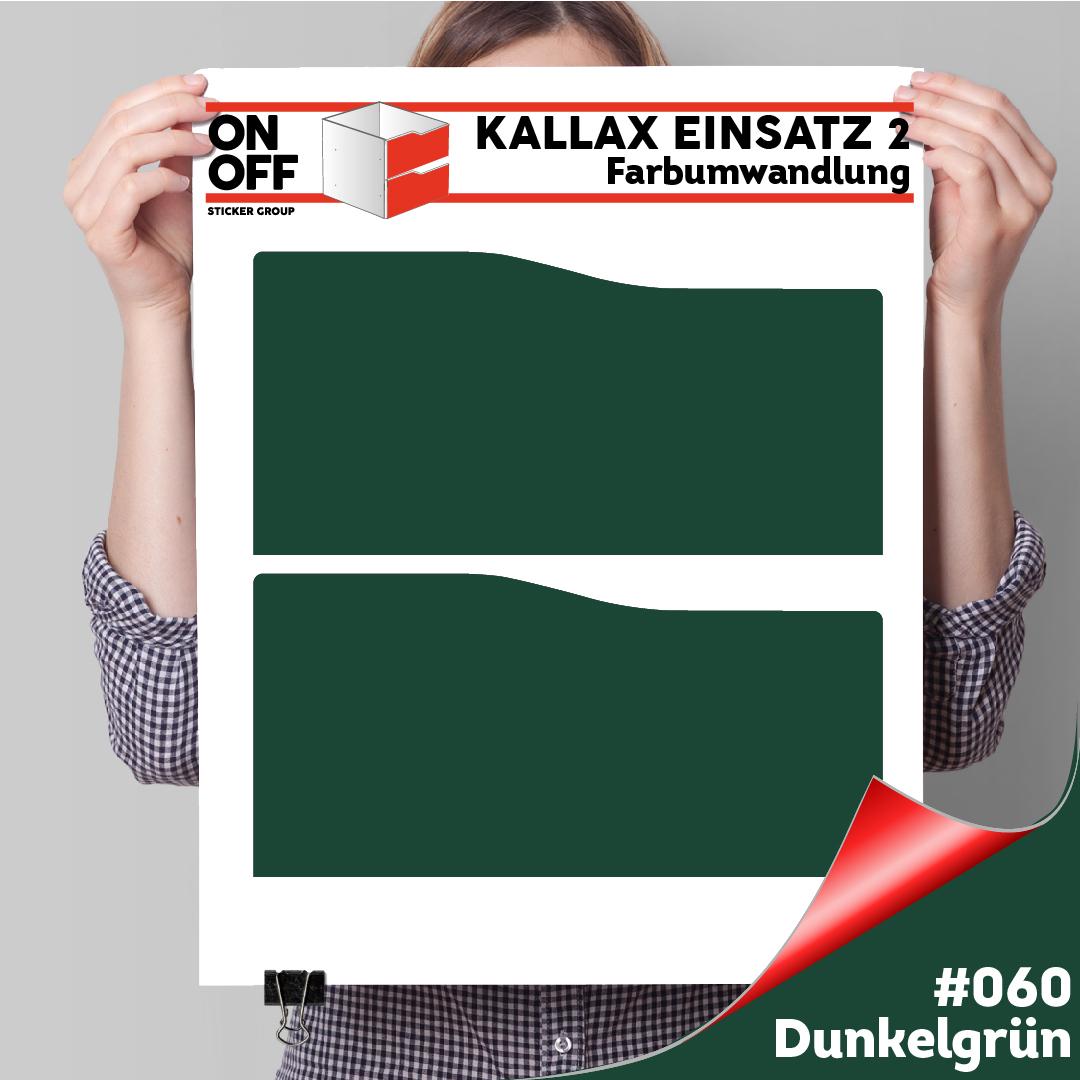 Kallax Einsatz 2 SCHUBLADEN mit WELLE (631) #060 Dunkelgrün